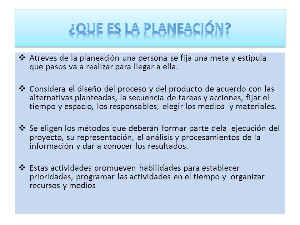 ¿Que es la planeación Atreves de la planeación una persona se fija una meta y estipula que pasos va a realizar para llegar a ella.
