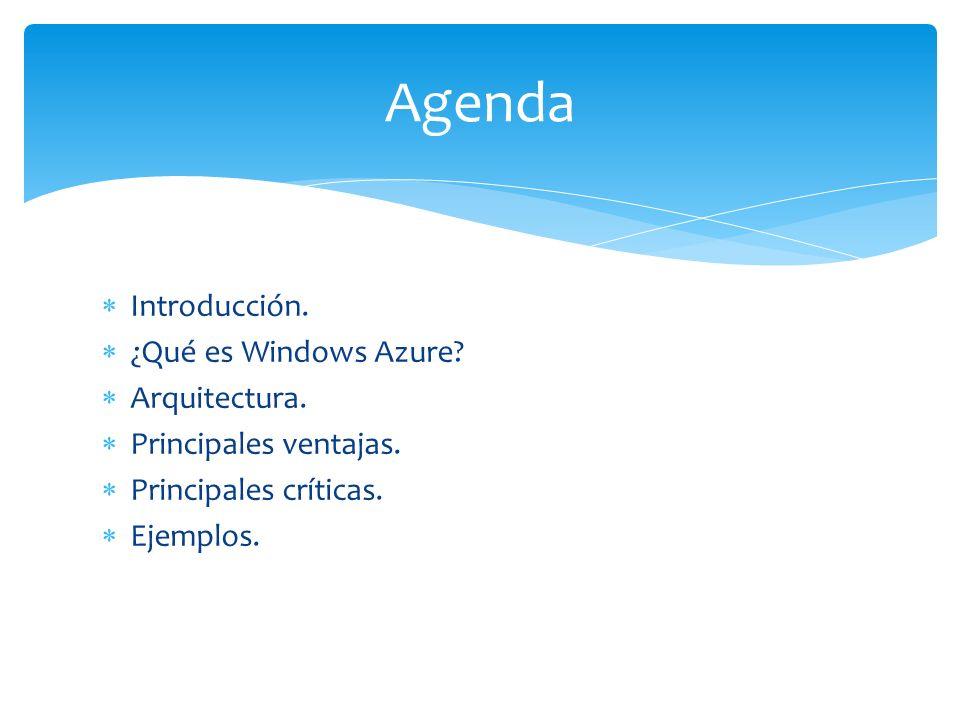 Agenda Introducción. ¿Qué es Windows Azure Arquitectura.