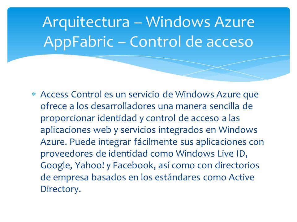 Arquitectura – Windows Azure AppFabric – Control de acceso