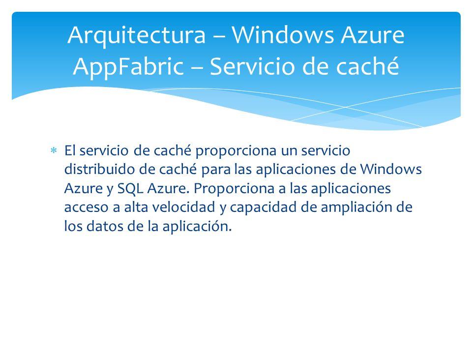 Arquitectura – Windows Azure AppFabric – Servicio de caché