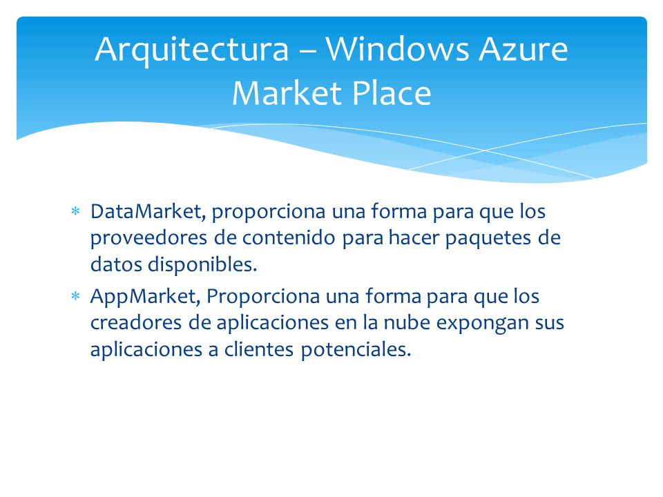 Arquitectura – Windows Azure Market Place