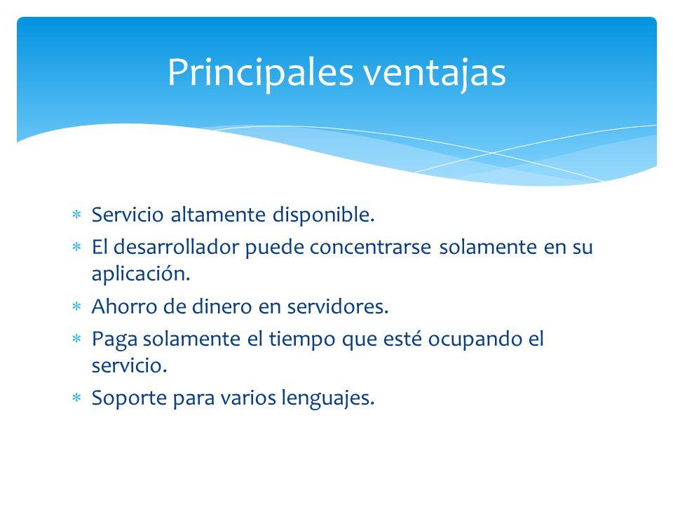 Principales ventajas Servicio altamente disponible.