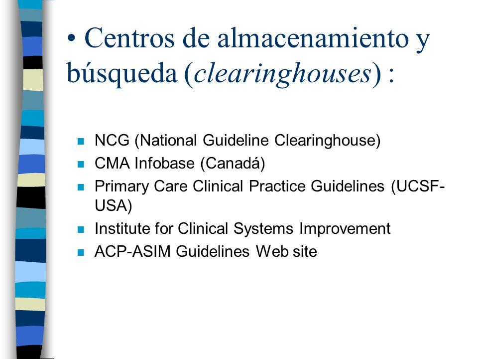Centros de almacenamiento y búsqueda (clearinghouses) :