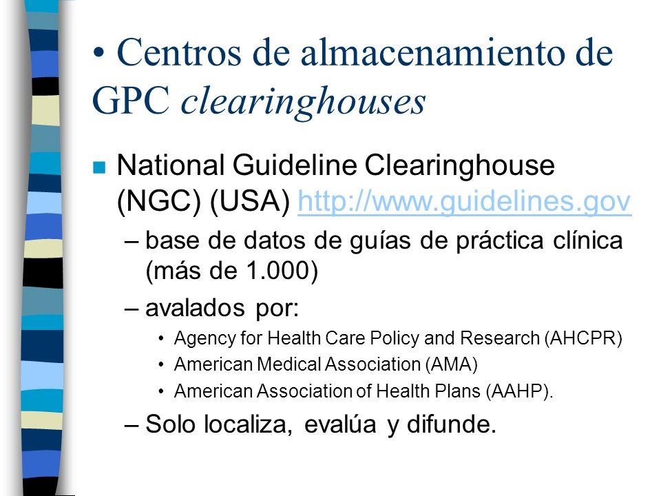Centros de almacenamiento de GPC clearinghouses