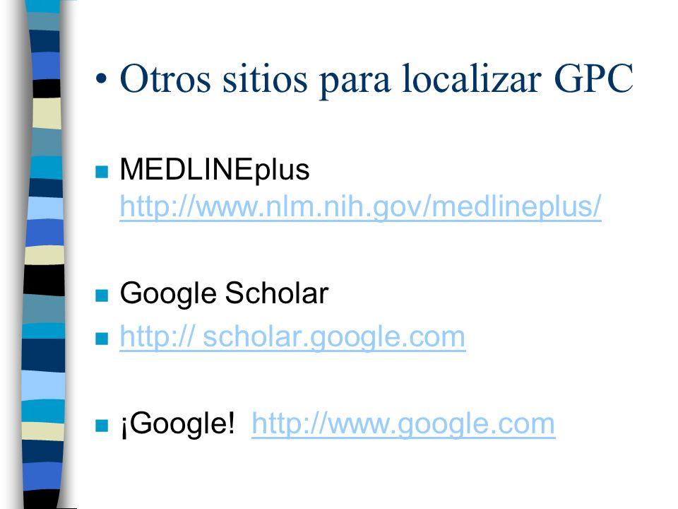 Otros sitios para localizar GPC