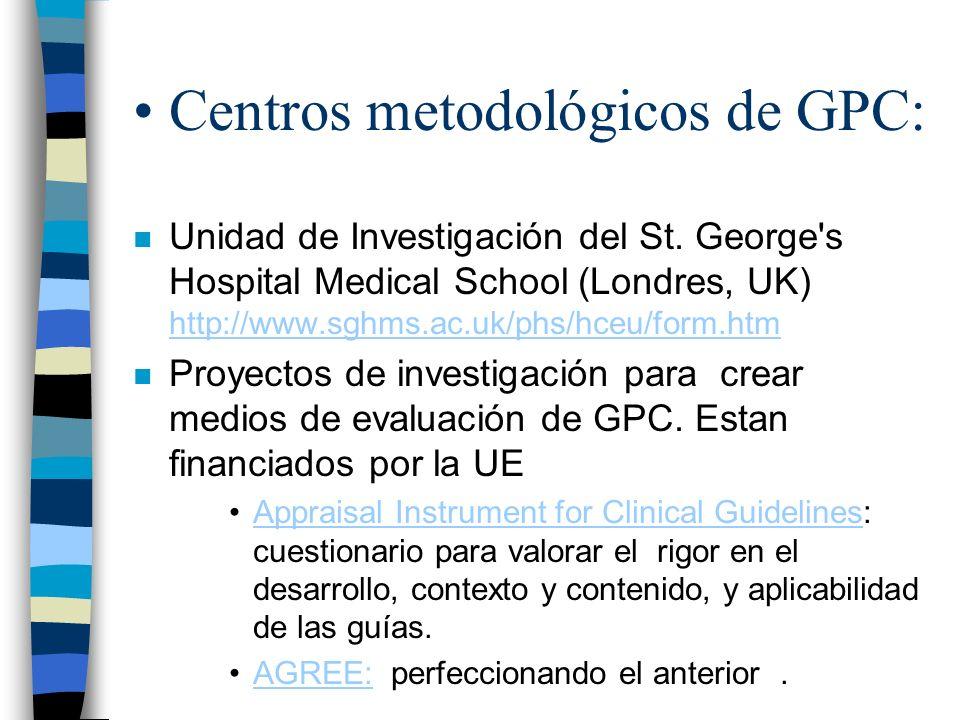 Centros metodológicos de GPC: