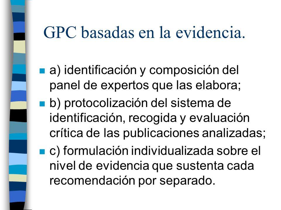 GPC basadas en la evidencia.