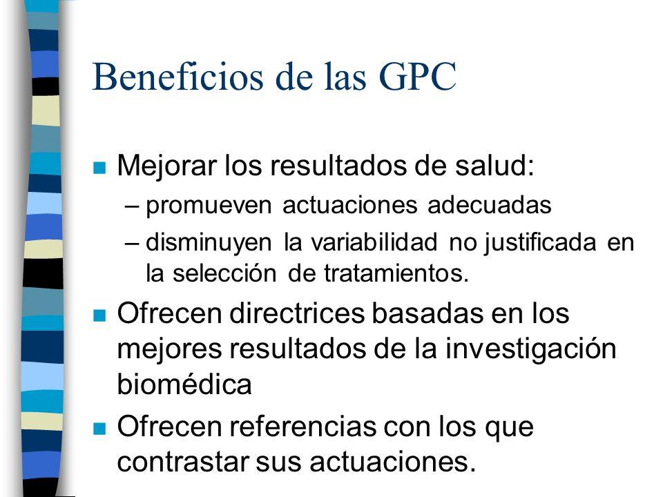 Beneficios de las GPC Mejorar los resultados de salud: