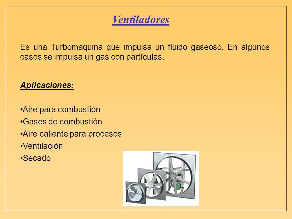 VentiladoresEs una Turbomáquina que impulsa un fluido gaseoso. En algunos casos se impulsa un gas con partículas.