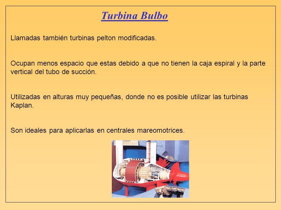Turbina Bulbo Llamadas también turbinas pelton modificadas.