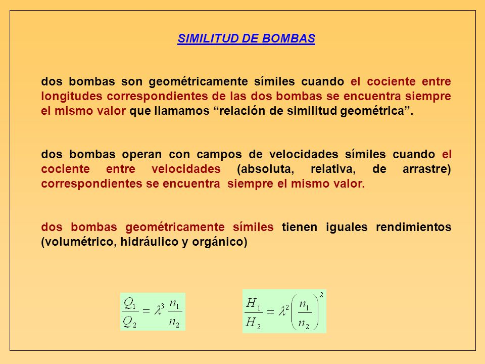 SIMILITUD DE BOMBAS