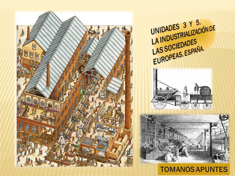 UNIDADES 3 Y 5. LA INDUSTRIALIZACIÓN DE LAS SOCIEDADES EUROPEAS. ESPAÑA. TOMANOS APUNTES