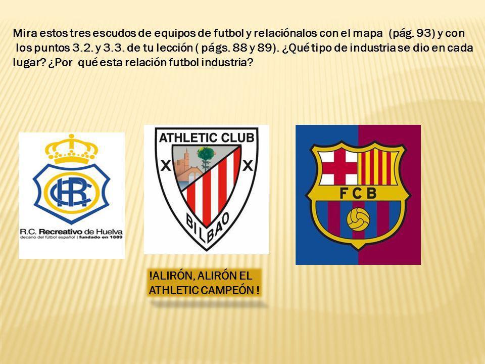 Mira estos tres escudos de equipos de futbol y relaciónalos con el mapa (pág. 93) y con