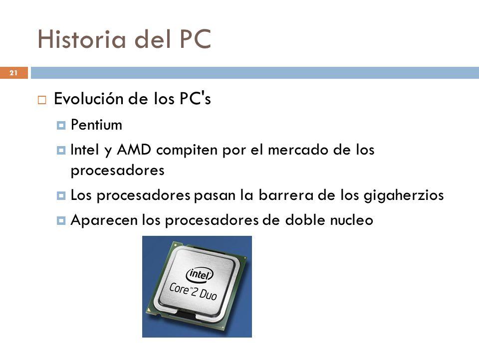 Historia del PC Evolución de los PC s Pentium