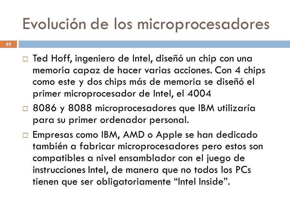 Evolución de los microprocesadores