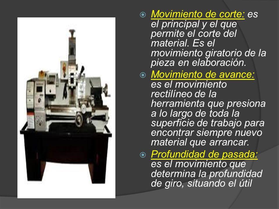 Movimiento de corte: es el principal y el que permite el corte del material. Es el movimiento giratorio de la pieza en elaboración.