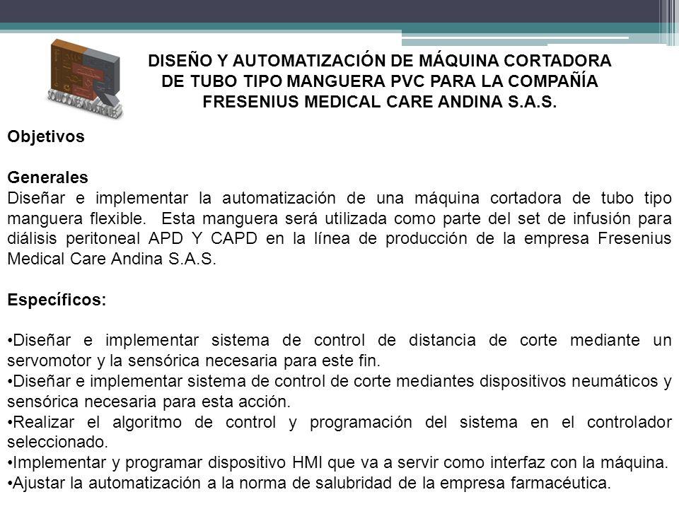 DISEÑO Y AUTOMATIZACIÓN DE MÁQUINA CORTADORA DE TUBO TIPO MANGUERA PVC PARA LA COMPAÑÍA FRESENIUS MEDICAL CARE ANDINA S.A.S.
