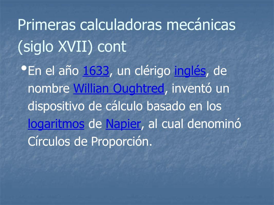Primeras calculadoras mecánicas (siglo XVII) cont