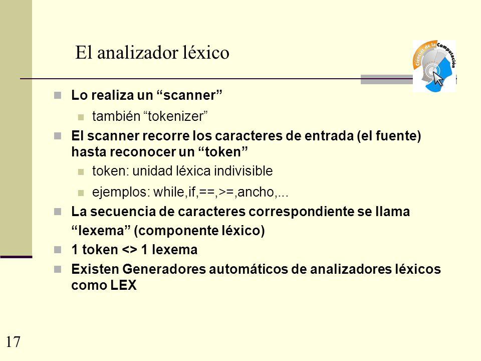 El analizador léxico 17 Lo realiza un scanner también tokenizer