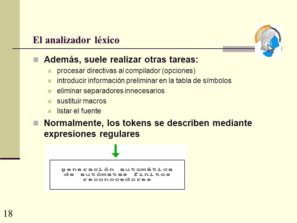 El analizador léxico 18 Además, suele realizar otras tareas: