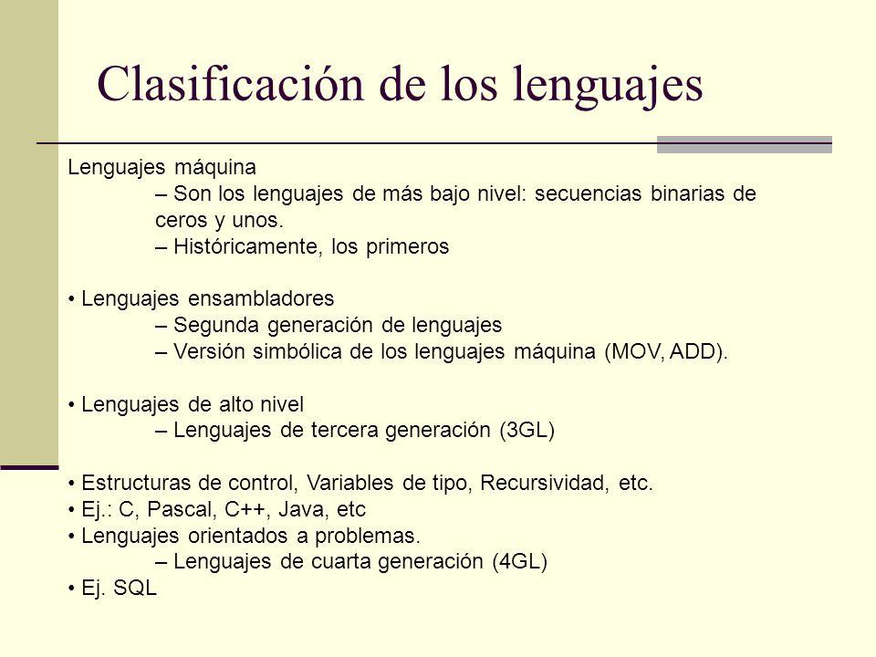 Clasificación de los lenguajes