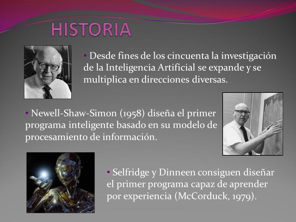 HISTORIA Desde fines de los cincuenta la investigación de la Inteligencia Artificial se expande y se multiplica en direcciones diversas.