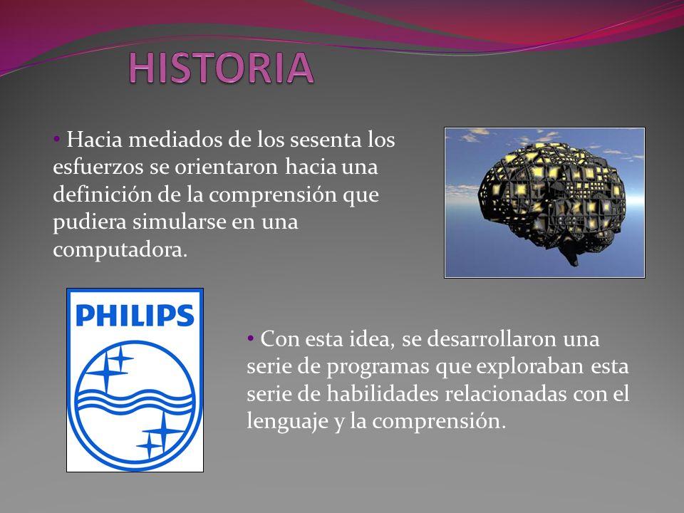 HISTORIA Hacia mediados de los sesenta los esfuerzos se orientaron hacia una definición de la comprensión que pudiera simularse en una computadora.
