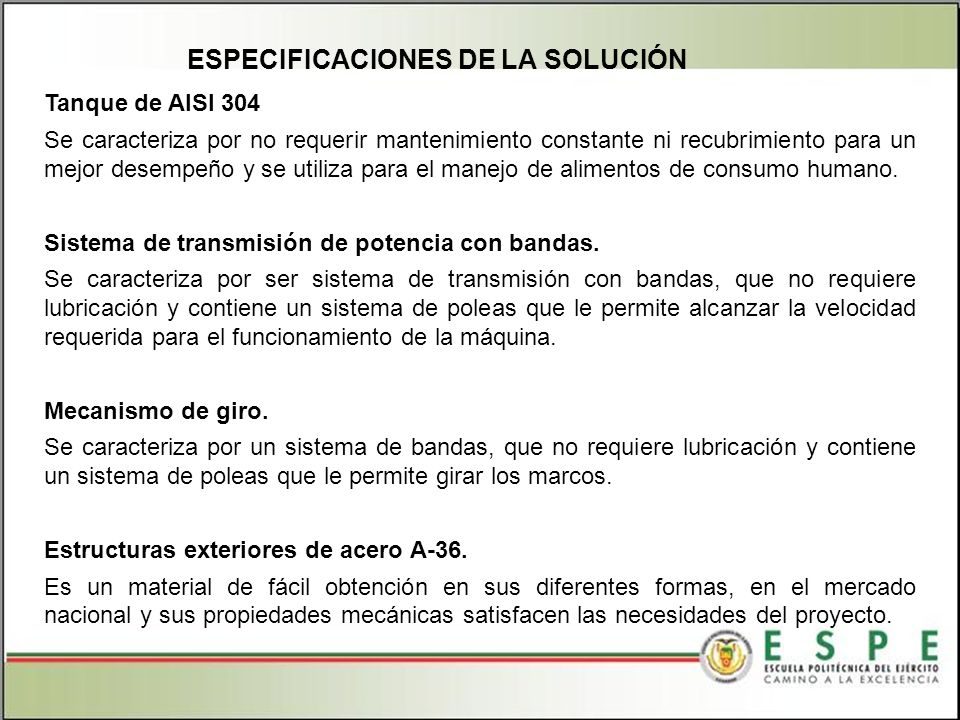 ESPECIFICACIONES DE LA SOLUCIÓN