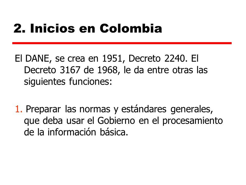 2. Inicios en Colombia El DANE, se crea en 1951, Decreto 2240. El Decreto 3167 de 1968, le da entre otras las siguientes funciones: