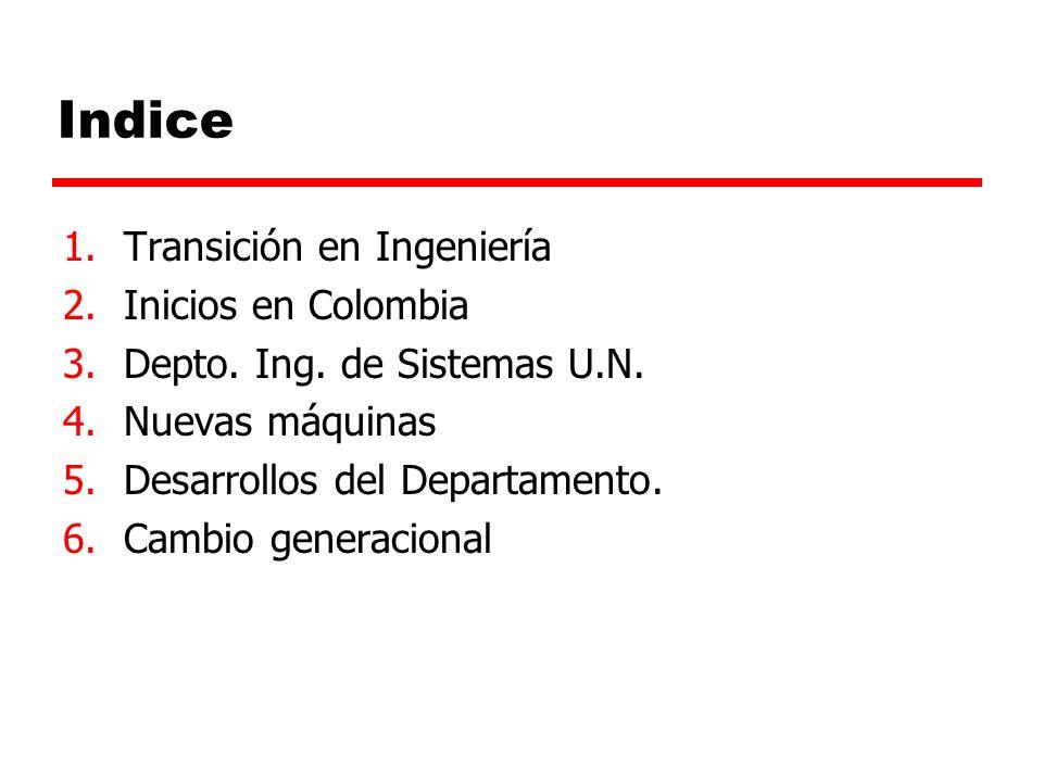 Indice Transición en Ingeniería Inicios en Colombia