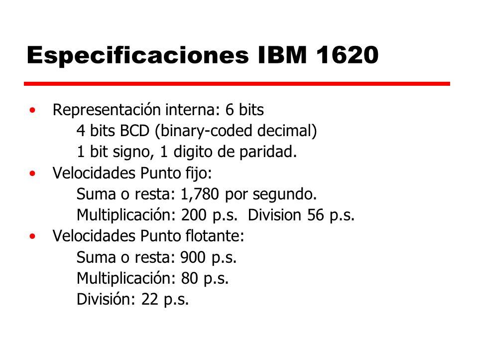 Especificaciones IBM 1620 Representación interna: 6 bits
