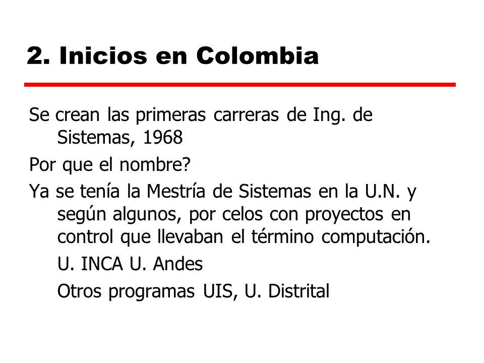 2. Inicios en Colombia Se crean las primeras carreras de Ing. de Sistemas, 1968. Por que el nombre