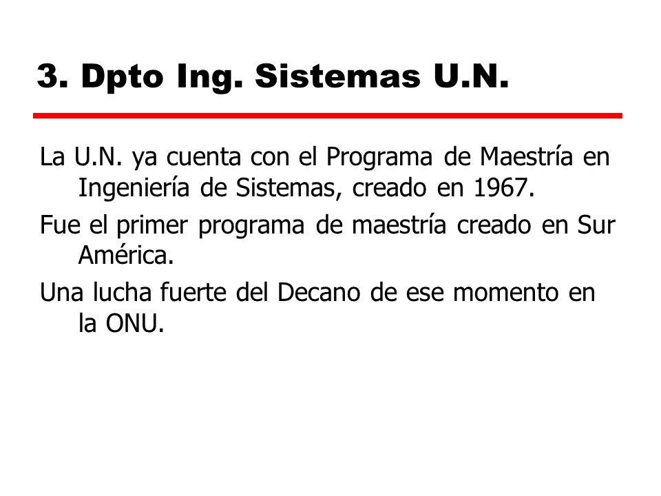 3. Dpto Ing. Sistemas U.N. La U.N. ya cuenta con el Programa de Maestría en Ingeniería de Sistemas, creado en 1967.