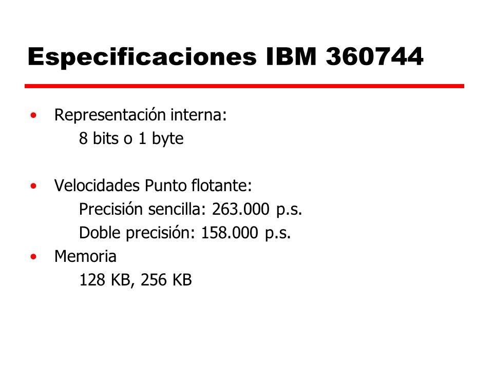 Especificaciones IBM 360744 Representación interna: 8 bits o 1 byte