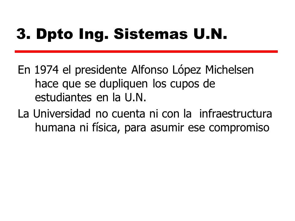 3. Dpto Ing. Sistemas U.N. En 1974 el presidente Alfonso López Michelsen hace que se dupliquen los cupos de estudiantes en la U.N.