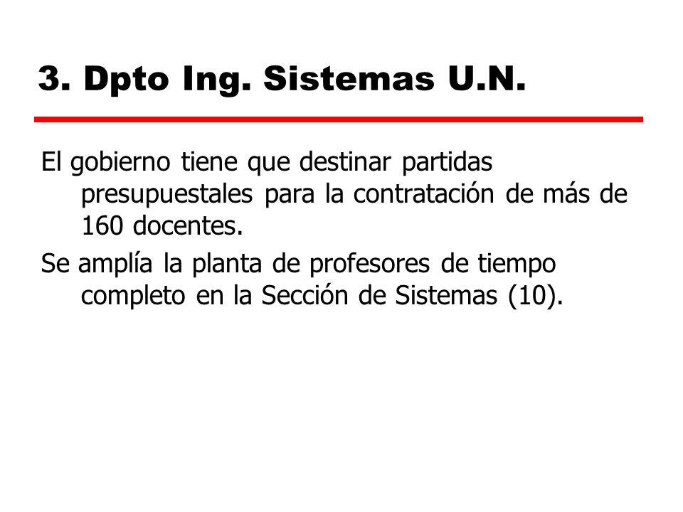 3. Dpto Ing. Sistemas U.N. El gobierno tiene que destinar partidas presupuestales para la contratación de más de 160 docentes.