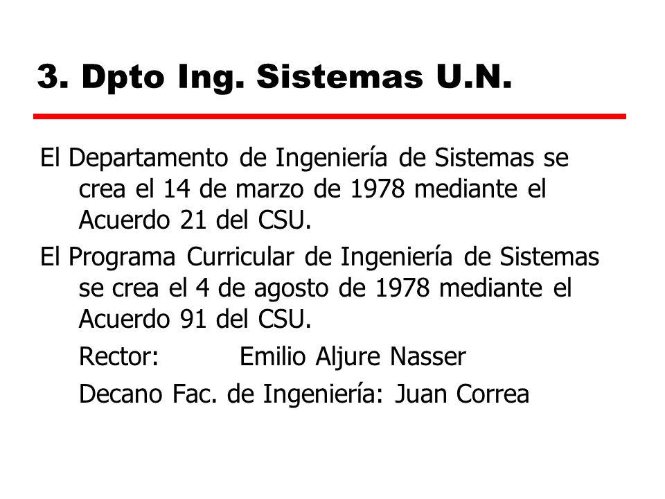 3. Dpto Ing. Sistemas U.N. El Departamento de Ingeniería de Sistemas se crea el 14 de marzo de 1978 mediante el Acuerdo 21 del CSU.
