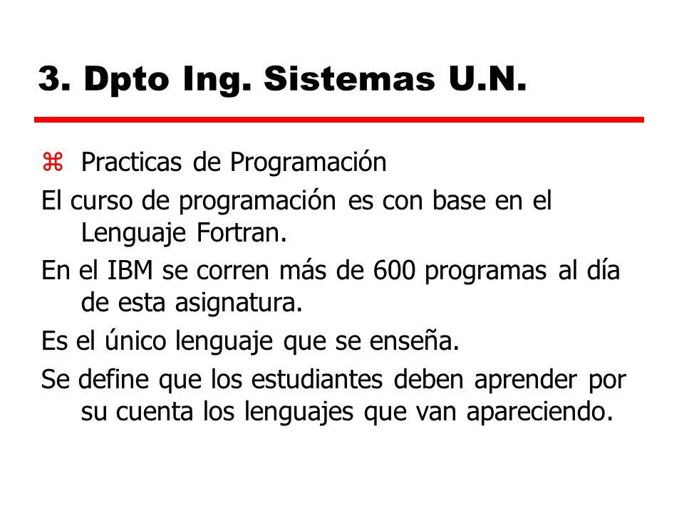 3. Dpto Ing. Sistemas U.N. Practicas de Programación