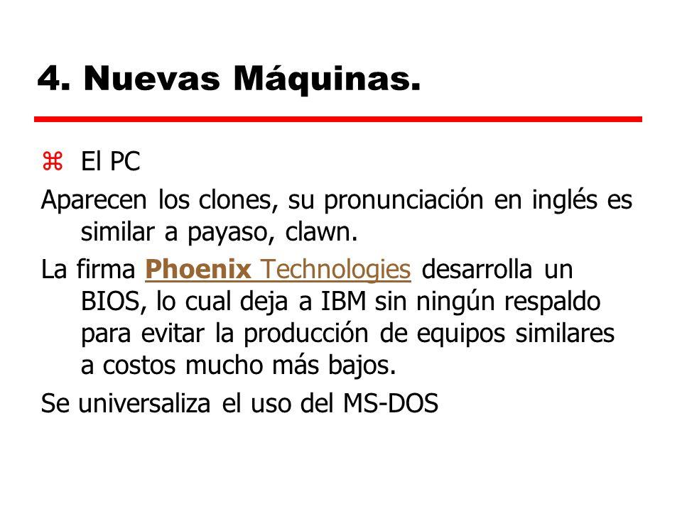 4. Nuevas Máquinas. El PC. Aparecen los clones, su pronunciación en inglés es similar a payaso, clawn.