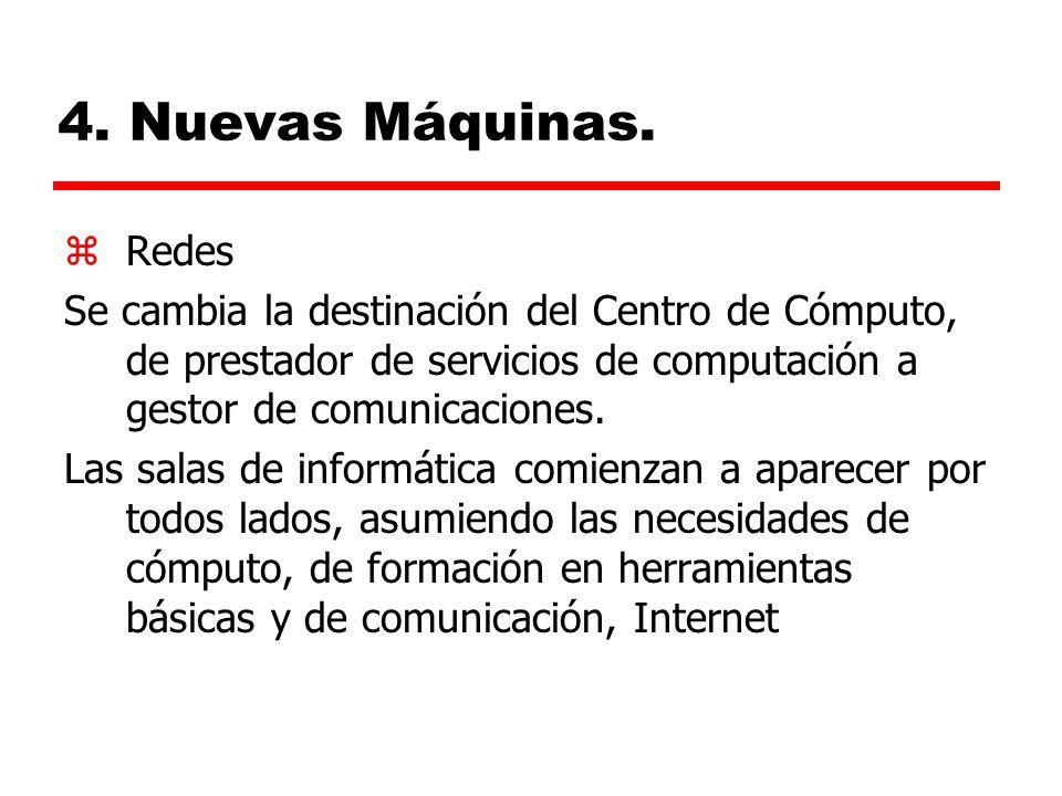 4. Nuevas Máquinas. Redes. Se cambia la destinación del Centro de Cómputo, de prestador de servicios de computación a gestor de comunicaciones.