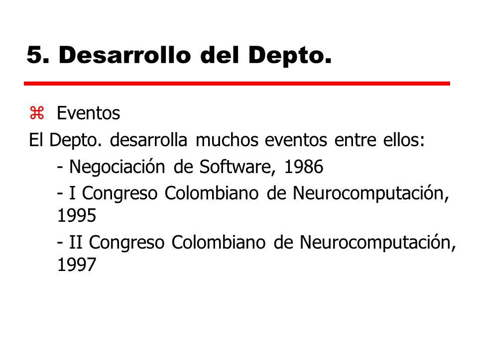 5. Desarrollo del Depto. Eventos
