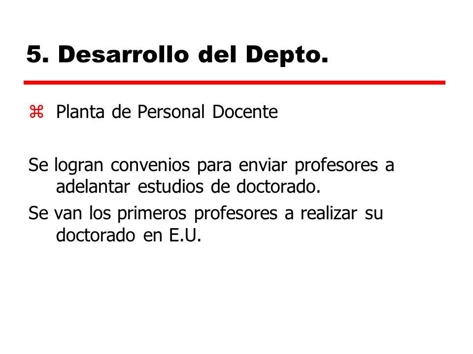5. Desarrollo del Depto. Planta de Personal Docente