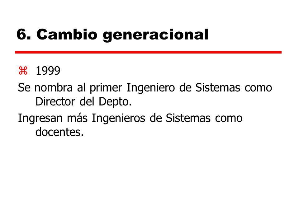 6. Cambio generacional 1999. Se nombra al primer Ingeniero de Sistemas como Director del Depto.