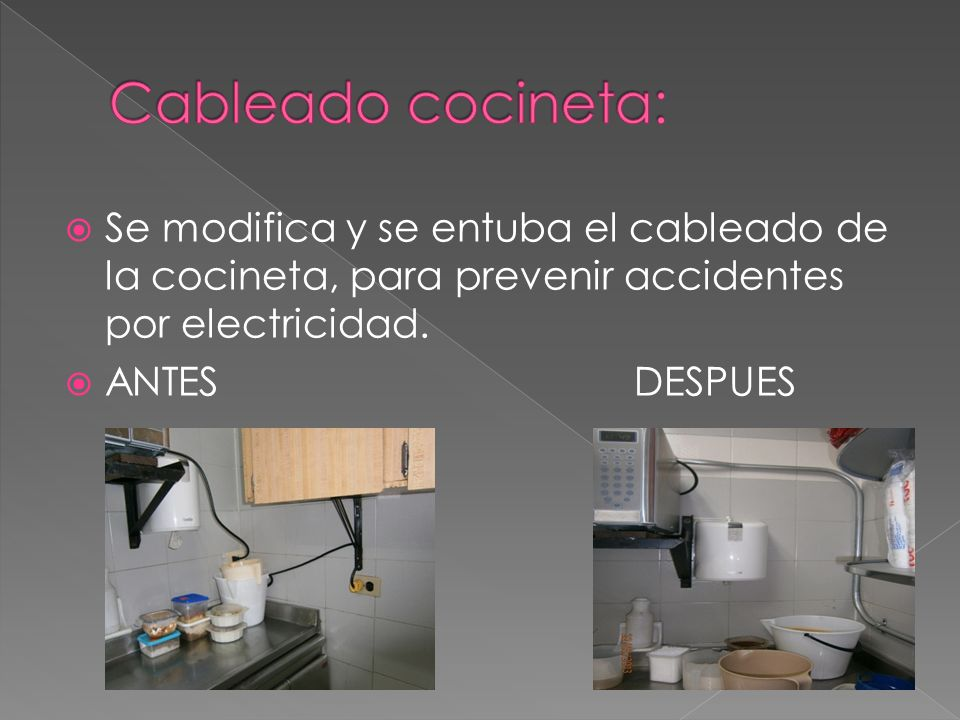 Cableado cocineta: Se modifica y se entuba el cableado de la cocineta, para prevenir accidentes por electricidad.