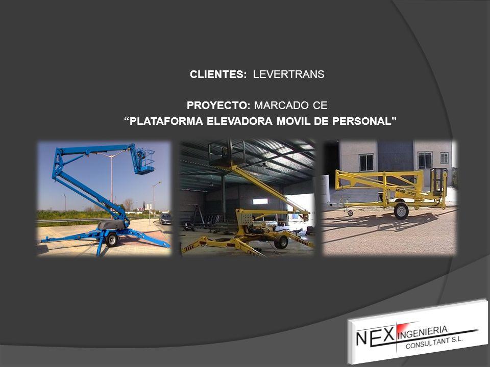 CLIENTES: LEVERTRANS PROYECTO: MARCADO CE PLATAFORMA ELEVADORA MOVIL DE PERSONAL