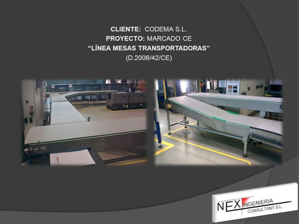 CLIENTE: CODEMA S.L. PROYECTO: MARCADO CE LÍNEA MESAS TRANSPORTADORAS (D.2006/42/CE)