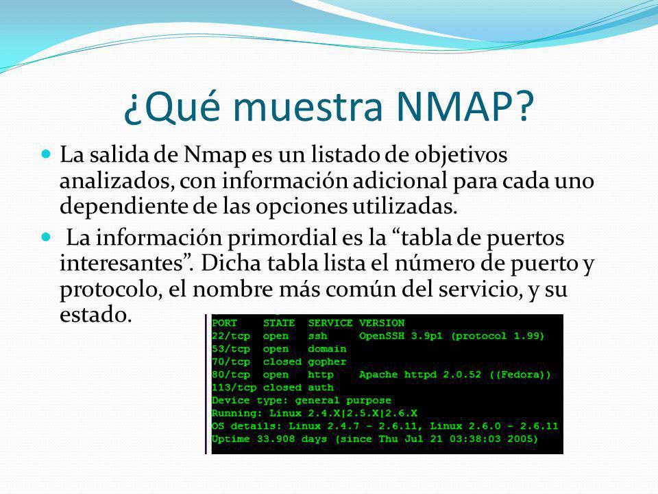 ¿Qué muestra NMAP