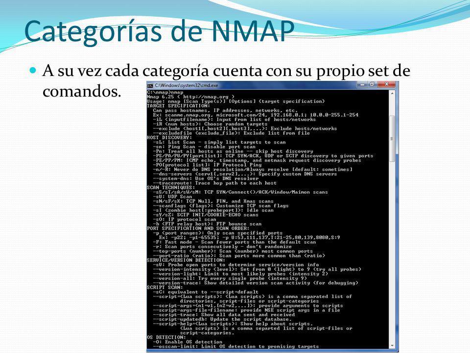 Categorías de NMAP A su vez cada categoría cuenta con su propio set de comandos.