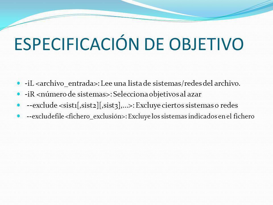 ESPECIFICACIÓN DE OBJETIVO