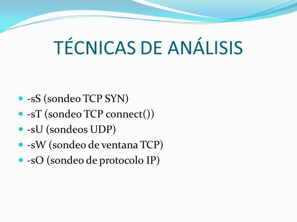 TÉCNICAS DE ANÁLISIS -sS (sondeo TCP SYN) -sT (sondeo TCP connect())